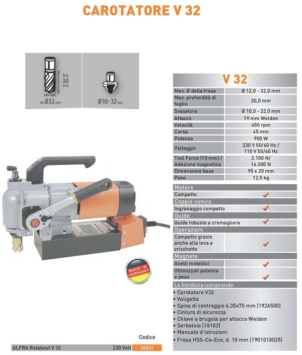 Scheda tecnica trapano carotatore V32 ALFRA